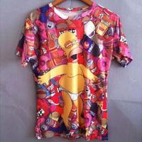 Fashion 2014 new 3d cartoon drunken Simpsons print funny T-shirt summer causal slim T-shirt