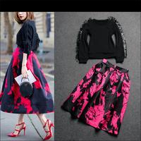 Best Quality!New Fashion Europe High Street Autumn Women Sweatshirt Tassel Sleeve Design Sweater+Print Ball Gown Skirt Red(1Set)