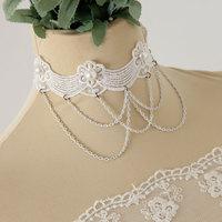 collares vintage white lace chain necklace bijoux women jewelry bijuterias gothic jewelry collar necklace jewelry