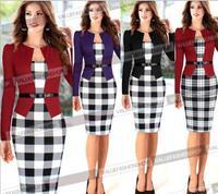2015 Women Elegant Belted Tartan Long Sleeve Patchwork Tunic Work Business Casual Party Bodycon Pencil Sheath Dress 251