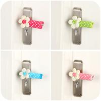 100% cotton fabric door handle sets polka dot flower door sets k2555