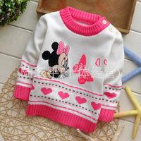 2014 children new winter sweater, cartoon Minnie girls sweater, buckle shoulder children's sweaters