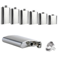 New 6 8 10 18 oz Liquor Stainless Steel Pocket Screw Cap Hip Flask with Funnel