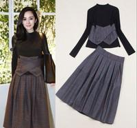 Top Quality!New Fashion Celebrity Style 2014 Women Black Sweatshirt Tops+Winter Plaid Print High Waist Wool Long  Skirt (1Set)