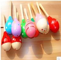 free shipping 10pcs/lot 2014 new design fashion big Wooden maracas baby toy wholesale