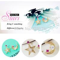 2014 Fashion Women Asymmetric Moon Star Christmas Earrings