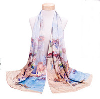 Unique Chinese PanKou style Light Blue shawl inkjet printing World Culture flower double-sided painting silk scarf #22