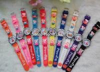 Free Shipping Promotion Wholesales fashion Cute Peppa Pig 3D Cartoon kids Children 3D Watch fashion wristwatch
