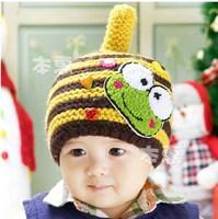 MZ094 2014 autumn winter Chromatic stripe children cartoon frog hat baby hats retail