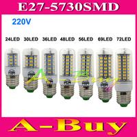 1Pcs SMD 5730 E27 B22 E14 GU10 G9  LED Lamp 7W 11W 12W 15W AC 110V 220V 5730SMD Corn Bulb Light Chandelier 24 36 48 56 LED