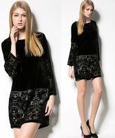 Best Quality!New Fashion 2015 Spring Dress Women Black  Dress Floral Patterns Long Sleeve Rayon  Cotton Dress Homecoming Dress