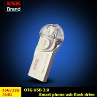 SSK SFD255 USB 3.0 Smart phone usb flash drive pen drive 100% 16G 32G 64G USB 3.0 high speed double plug OTG mobile phone