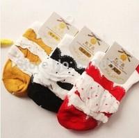 Fast shipping dot 3 multi-layer laciness bubble women's sock cotton socks