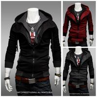 Drop Shipping Man Hoodies Fashion Assassins Creed Hoody Jacket Slim Hooded Zipper Sportswear Tracksuits Hoodies Sweatshirt  W118