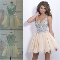 Real Photo New Short Evening Dress Crystal Knee Length Dress To Party Elegant Women Dresses For Prom Vestido De Festa Curto