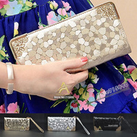 2014 New fashion designer gold silver Stone Pattern women clutch wallet women purse coin phone bag Day clutch bag