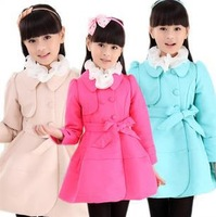 Free shipping new 2014 children's clothing girls coat children autumn fashion double-breasted trench coat girls coat FF424