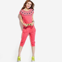 Women 2 Piece Shorts Set Short Sleeve Round Collar Print Active Casual Tops Fashion Solid Pant Sports costumes Suit X949