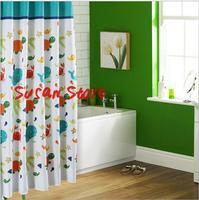 Bathroom curtain terylene cloth child real printed shower curtain 180*180cm 12 cartoon turtle