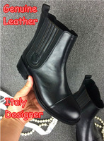 Top Italy Designer Genuine Leather Women's Motorcycle Ankle Boots Winter And Autumn Flat Heels Fashion Black Ladies Brand Shoes