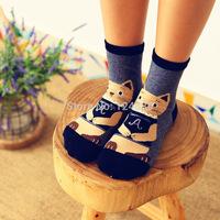 2pairs/lots new hot women cotton socks cartoon Cat creative socks 52270