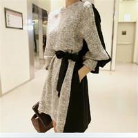 Fashion Women Long Sleeve Dress Casual Autumn Winter Knitted Dress Plus Size Office Dress  10315