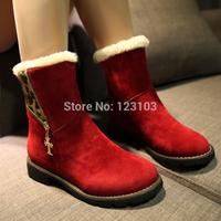 Side Zipper Leopard Print Knee-high Flat Snow Boots for Women Free Shipping