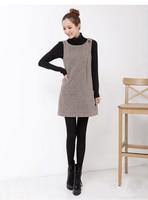 Winter Women's Wool dress tank cute sleeveless plaid mini dress for woman girl OL vintage style coffee/black S M L XL XXL