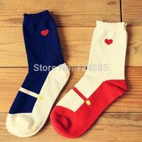 2 pairs two colors New Arrival Heart Ballet pattern Socks women's Cotton Socks 52268