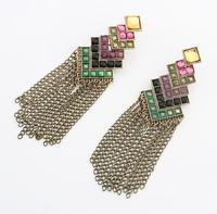 Gold Color Alloy Tassel Earrings Green Rhinestone Long Drop Earrings Christmas Gifts Brincose Women