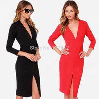 In 2014 the new dress split v-neck long red/black