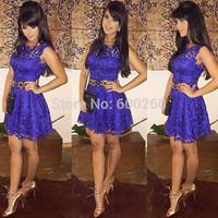 Hot sales 2014 new European and American Slim sleeveless dress party elegant purple lace mini sexy dress free shipping