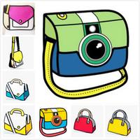 2014 New Style cartoon 3d comic bag canvas shoulder bag Free Shipping