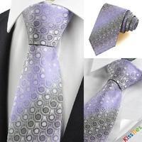 Purple Grey Gradient Swirl Paisley Pattern Men's Tie Necktie Holiday Gift KT0047