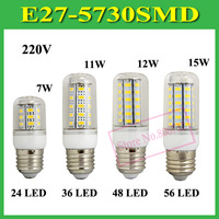 1Pcs SMD 5730 E27 B22 E14 GU10 G9 LED Lamp 7W 11W 12W 15W AC 110V 220V 5730SMD Corn Bulb Light Chandelier 24 36 48 56 LED