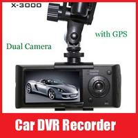 "New Upgraded Zoran C12 Chip OV9712 Sensor X3000 R300 2.7"" TFT LCD Dual Camera Car DVR with GPS 3D G-Sensor Infrared night vision"