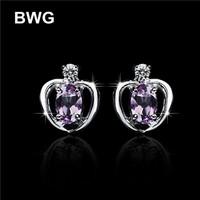 BWG Fashion Jewelry Lady's Trendy Stud Earrings Silver Plated With Purple A+++ Cubic Zirconia Earrings For Women E1045