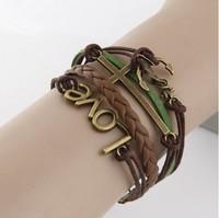 2014 Fashion simple LOVE cross anchor Infinity bracelet Charm Leather Multilayer Vintage Bracelet jewelry for women wholesale