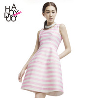 sweet striped slim one step dress stripe stitching waist ball gown women fashion dress for wholesale and free shipping haoduoyi