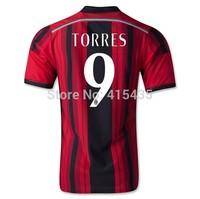 Free Shipping AC MILAN 2015 SHAARAWY TORRES camisas JERSEY AC MILAN 14 15 Soccer Jersey Home Away Football shirts