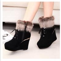 Women's Winter Wedge Ankle Boots Heels Platform Lace Up Fur Boots Winter Shoes For Women Wedges Pumps Black With Zip SZHPL-808