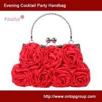 Satin rose mini size wedding handbag with handle