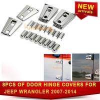 8pcs/ SET 4 Door Hinge Covers For Jeep Wrangler JK 2007~2014 Door Trim Protector Bezel Chrome ABS