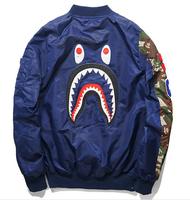 2014 best winter rare bape newest hip hop men jacket embroidery shark windbreaker baseball camo pocket outwear badge down coat