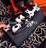 Platinum fashion brand design PU stitching lines cows really horsehair handbag lady purse wallet clutch evening bag shoulder bag