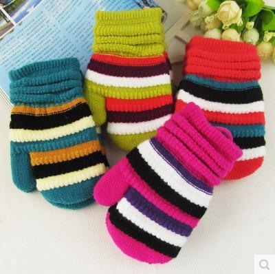 Children mittens wholesale cute striped cashmere knit winter days, men and women strap baby warm gloves(China (Mainland))