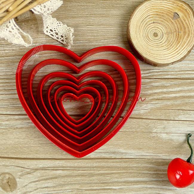 venda quente 1 set 6 diferentes tamanhos amor coração molde cortadores em forma biscoito cookie chocolate artesanato açúcar bolo ferramenta de decoração(China (Mainland))