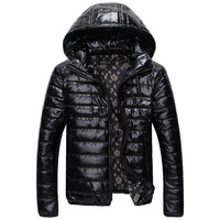 2014 winter new men's thick padded hooded jacket coat shiny striped hooded jacket free shipping