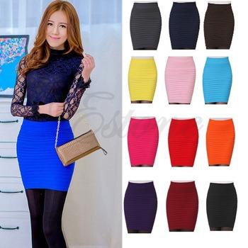 S105 - бесплатная доставка женская сексуальная карандаш конфеты цвет эластичный высокой талией эластичный тонкий бесшовные юбка