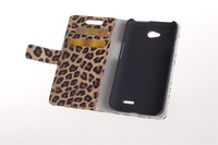 2014 Leopard New Brand Leather Wallet popular Can Put Credit Stand Skin Cover Case for LG L70